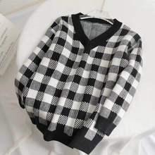 Женский свитер с v образным вырезом, белый, черный Свободный пуловер в клетку, вязаный джемпер, Осень зима 2019