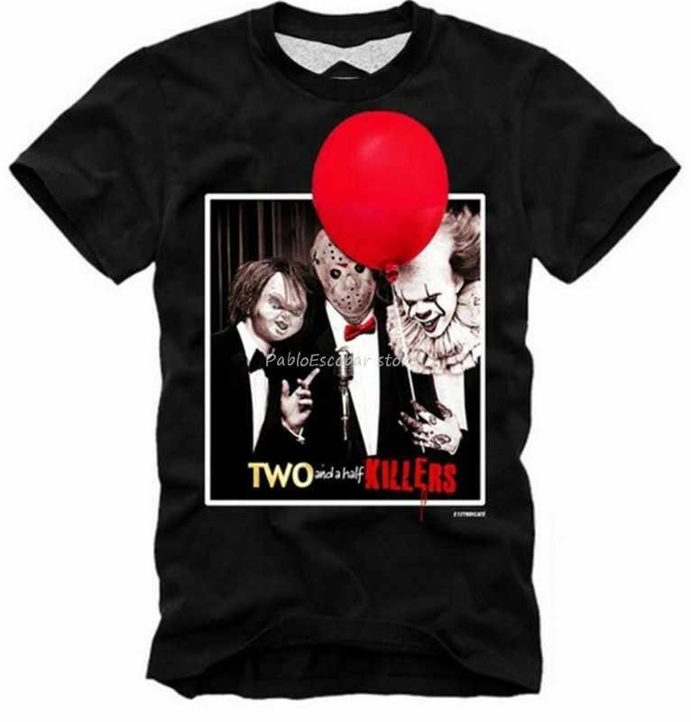 E1Syndicate T-Shirt dwa i pół zabójców Pennywise Jason Chucky to 2 mężczyzn 4672 nowe trendy Tee koszula mężczyzna marki tshirt lato