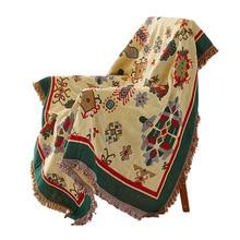 Hogar textil geometría punto sofá manta Vintage étnico Mandala tiro manta adultos niños Stitch manta suave tirar en la silla de cama
