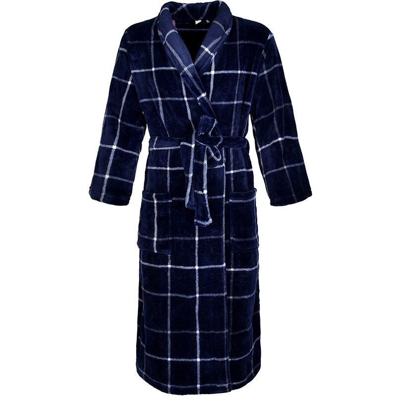 Image 3 - Women Winter Plaid Plus Size Long Flannel Bathrobe 40 130KG Warm Bath Robe Cozy Kimono Robes Dressing Gown Men Night Sleepwear-in Robes from Underwear & Sleepwears on AliExpress
