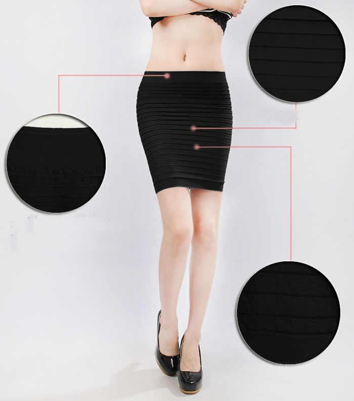 Frauen Bleistift Rock Hohe Taille Candy Farbe Elastische Plissee Sexy Kurzen Rock Büro Laides Paket Hüfte Röcke # T1P