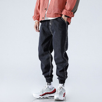 Moda masculina casual jeans solto denim harem pant lado listra masculino jean calças streetwear hip hop calça moletom фото
