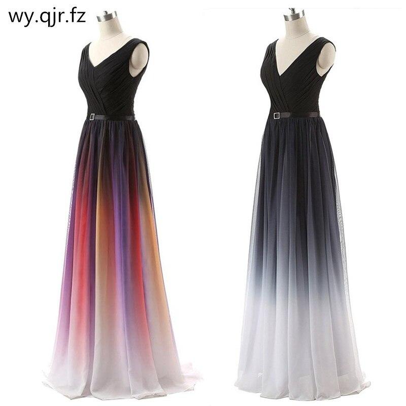 LLY6988#Eucharist 2019 New Double Shoulder Lace Up Party Prom Bridesmaid Dresse Banquet Host Long Dresses Colour Cheap Wholesale