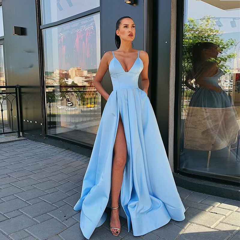 Light Sky Blue Long   Prom     Dress   V-neck Spaghetti Straps 2019 Simple Satin Women   Prom   Gown High Slit Sexy Special Occasion   Dresses