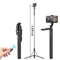 Roreta de alta calidad nuevo 1,49 m gran Bluetooth Selfie Stick trípode plegable monopiés de vídeo universal para la cámara Gopro para Smartphone
