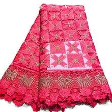 Африканская кружевная ткань для вечерние платье в нигерийском стиле французский швейцарская вуаль ткань с Стразы полиэстер 5 ярдов 40 плетения