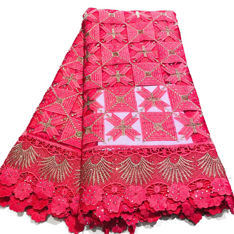African Lace Fabrics For Party Dress Nigerian French Swiss Voile Laces Fabric With Rhinestones 100% Polyester 5 Yards 40 Weaving