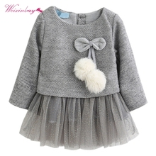 Girls Dress Autumn Long Sleeve Patchwork Plush Ball Bow Tulle Dresses Kids Clothes