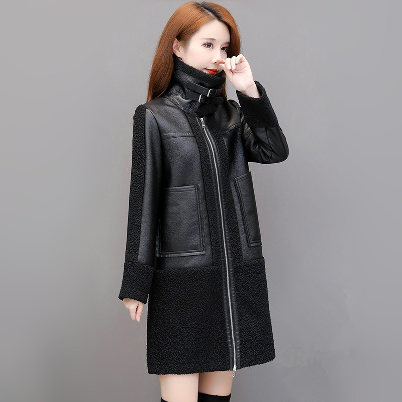 Leather Coat Winter 2019 Fashion Thicken Keep Warm Jacket Lambswool Sheepskin Suede Overcoat Mid-length Outerwear Female