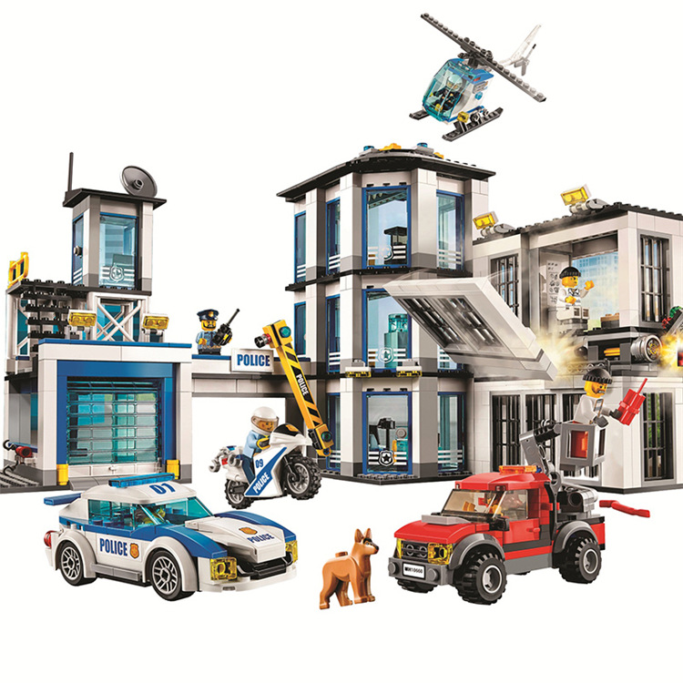 936pcs Compatible With Lepining 60141 60215 In Stock City Fire Fighting Police Station Building Block Bricks City Gifts Toy