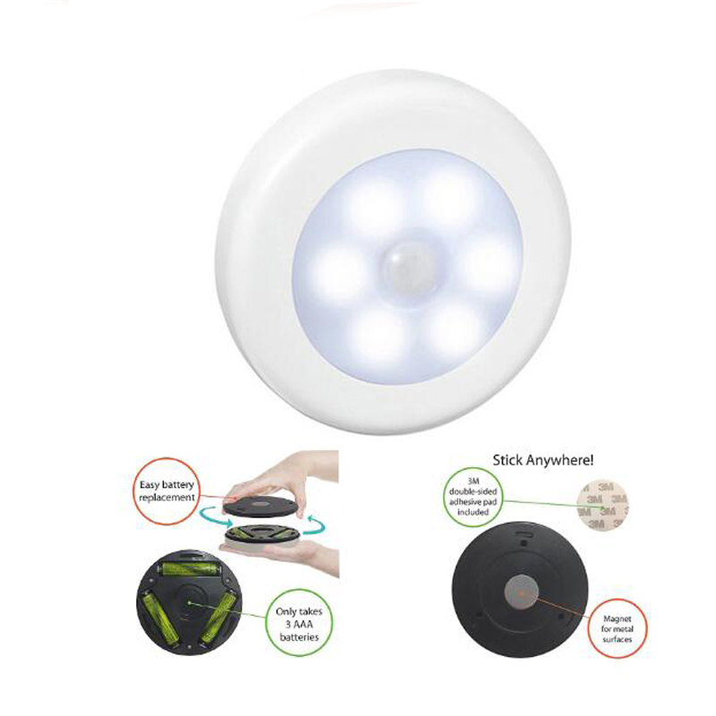 Color Siliver Infrared PIR Motion Sensor 6 Led Night Light Magnetic Wireless Detector Light Wall Lamp Light Auto On/Off Closet
