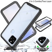 Combo Valweerstand Rugged Case Voor Google Pixel 4a Defender Armor Shield Anti Skid Crystal Clear Cover Voor Pixel 4a 5G