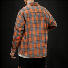 2019 Autumn And Winter Men's New Casual Contrast Color Plaid Pocket Decoration Long-sleeved Shirt Loose Temperament Trend Cotton stripe and plaid contrast hidden pocket longline dress