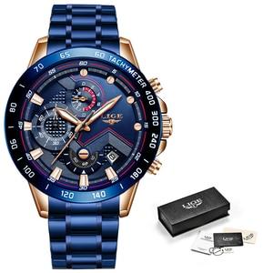 Image 5 - 2019 LIGE New Blue Fashion Business Clock Mens Watches Top Brand Luxury All Steel Waterproof Quartz Gold Watch Relogio Masculino