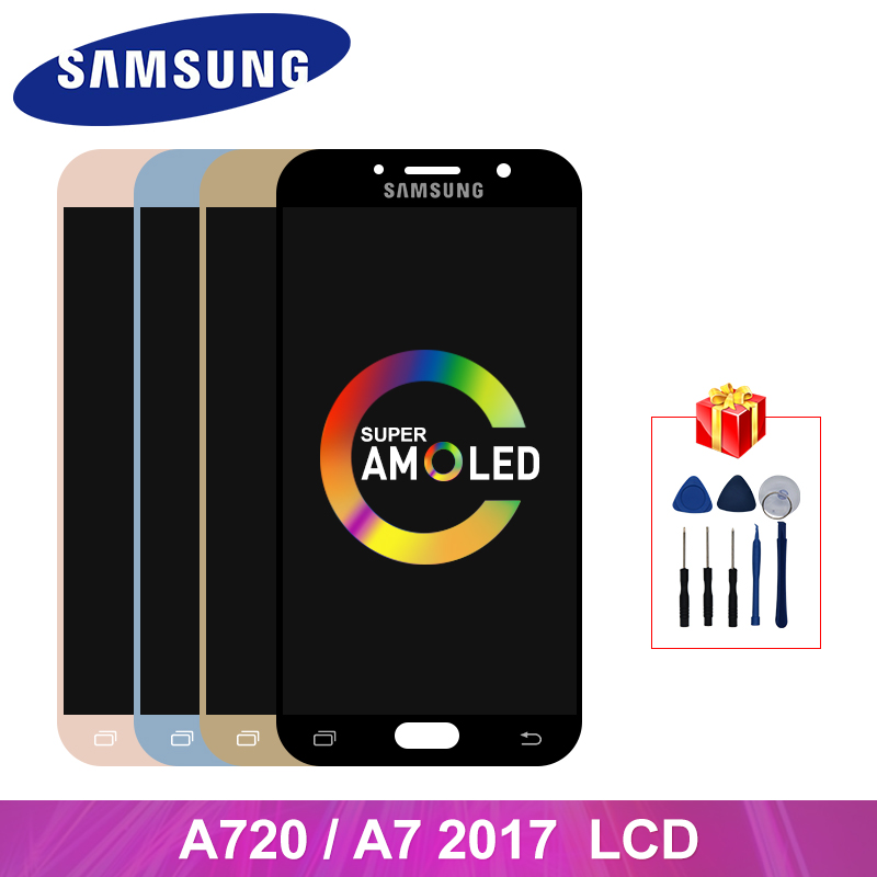 Super AMOLED For <font><b>Samsung</b></font> Galaxy A7 2017 A720 LCD Display Touch <font><b>Screen</b></font> Digitizer Replacement Parts For <font><b>A720F</b></font> A720M Display image
