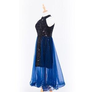 Image 4 - 플러스 사이즈 이브닝 호스트 긴 드레스 높은 목 지퍼 간단한 파티 가운 Soiree 섹시한 공식 드레스 MS 0080