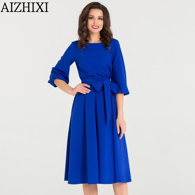 A-Line Dress Spring Autumn Casual O-Neck Dress 5
