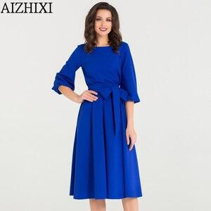 Image 5 - AIZHIXI Vintage katı cep Sashes evaze elbise İlkbahar yaz kadın rahat o boyun fener kollu elbise zarif parti elbiseler