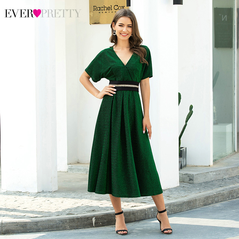 Elegant Dark Green Cocktail Dresses Ever Pretty A-Line V-Neck Short Sleeve Ruffles Tea-Length Party Dresses Robe De Cocktail