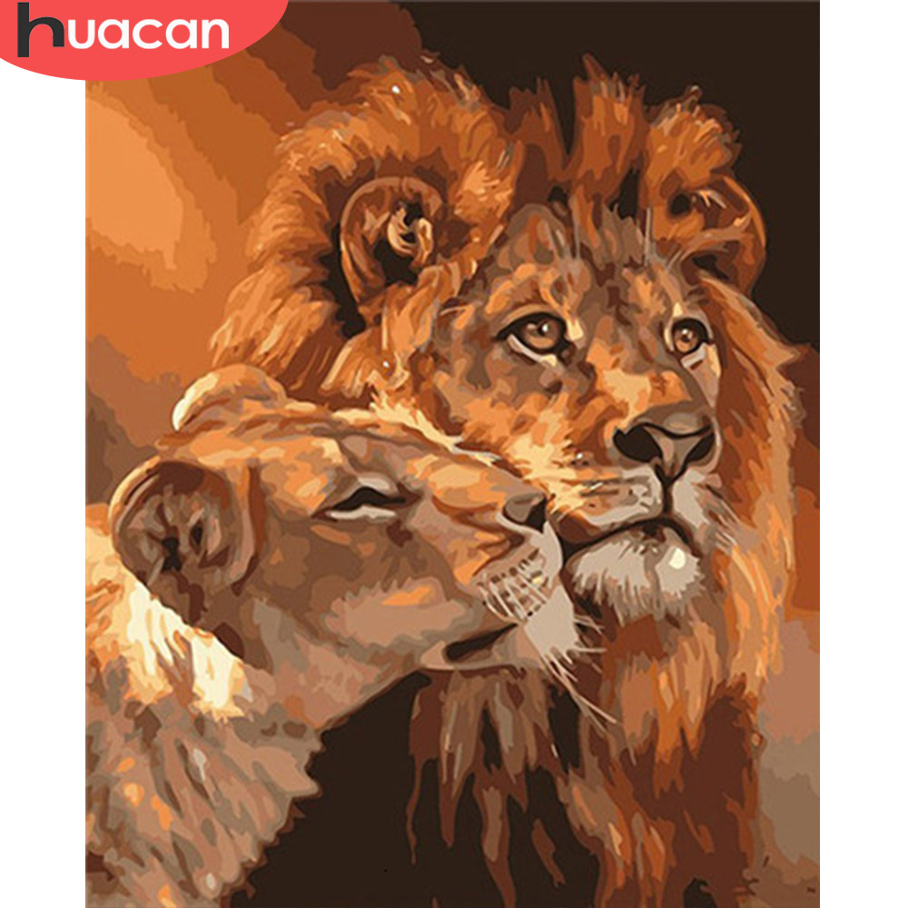 HUACAN Painting By Number Lion Animal Drawing On Canvas HandPainted Art Gift DIY Picture By Number Kits Home Decoration
