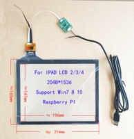 9,7 pulgadas USB Digitalizador de pantalla táctil de Radio IPAD 3/4/5/6 LCD 1024*768*1536*2048 Win7 8 10 Raspberry Pi Android