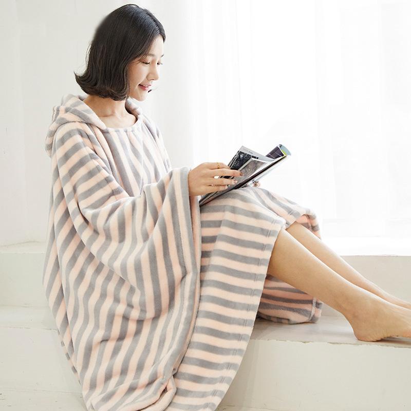 Winter Thick Sofa Comfy TV Blanket Hoodie Sweatshirt Weighted Throw Blanket Fuzzy Fleece Plaid Blanket Fleece Blanket Adult Kids 14