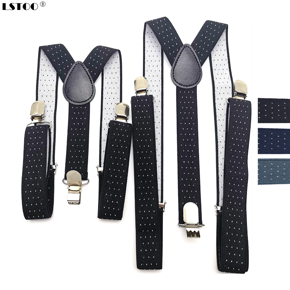 Easy Adjustable Adult Kids Dot Jacquard Suspenders Men Women Elastic  X Shape 3 Clips Suspensorio Braces Wedding Party Wear