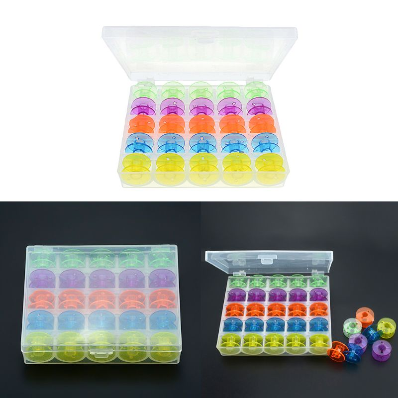 Practical Multicolored Plastic Coil Reel Empty Bobbins Colorful Sewing Machine Spools With Transparent Clear Case Storage Box