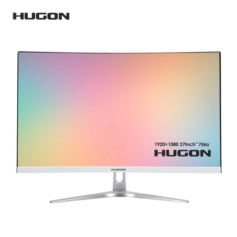 "HUGON 24 inç 1920 × 1080p kavisli ekran bilgisayar monitörü PC 60/75Hz HD oyun VGA-HDMI 20/27 inç ""düz Panel ekran"
