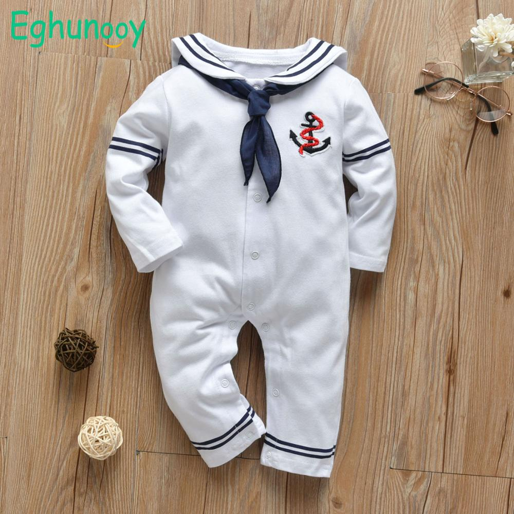Newborn Baby Boy Girl Romper White Navy Sailor Uniforms Unisex Long Sleeve Jumpsuit Infant Clothing Autumn Toddler Clothess | Happy Baby Mama