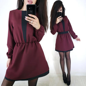 Women Dress New-Fashion A-Line-Lantern O-Neck Long-Sleeve Black Mini Casual Patchwork