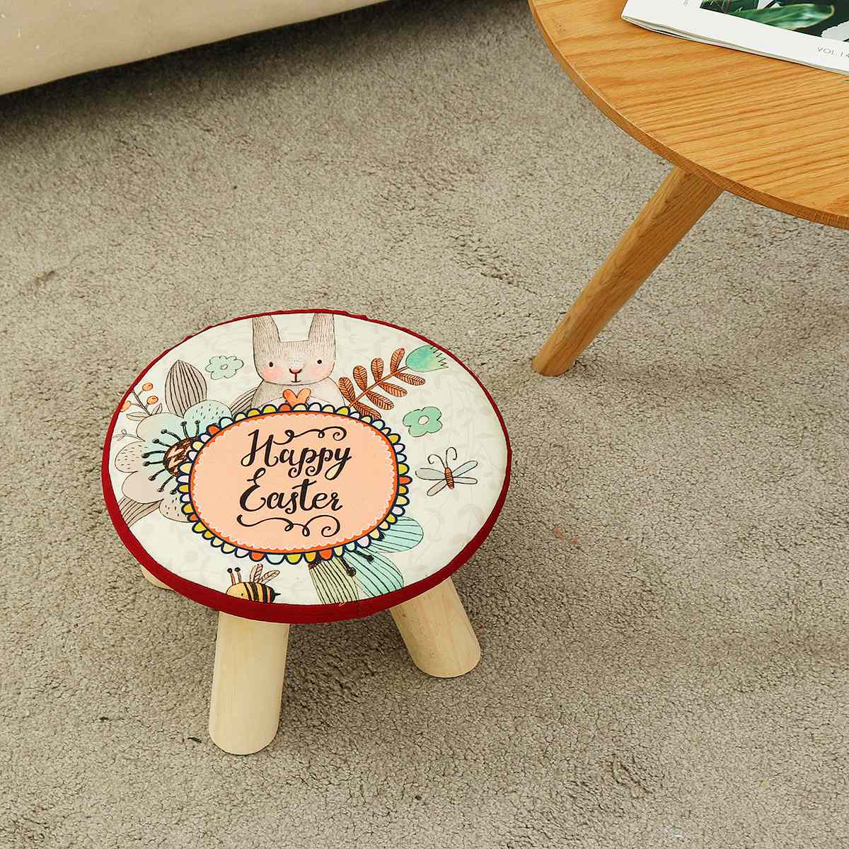 Children Furniture Modern Upholstered Footstool Round Stool Wooden Leg Lazy Child Stool Solid Wood Removable?cover