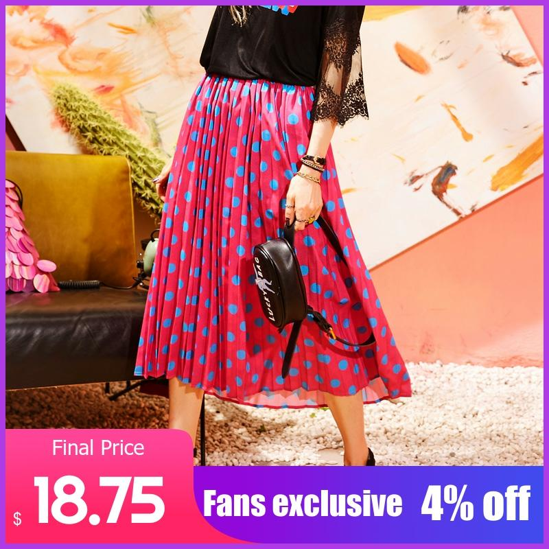 ELFSACK Women Vintage Dot Print Straight Skirt New Summer Design Ladies Casual Knee-Length Female Casul Ladies Skirts