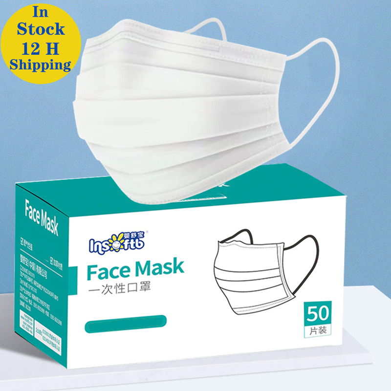 10/50pcs Men Women Adult Cotton Mask Activated Filter 3 Layers Mouth Mask White Face Masks