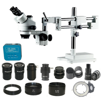 3.5X 7X 45X 90X 180X Zoom 3D Simul Focal double arm boom Trinocular Stereo Microscope 38MP HDMI USB digital camera SMD optics