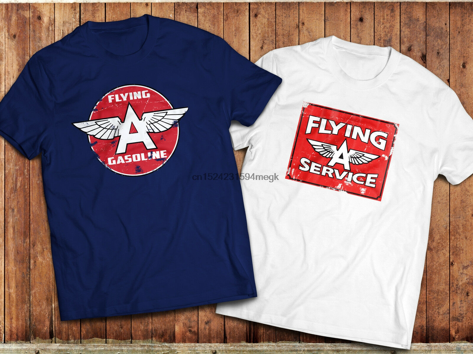 'FLYING A' T-Shirt Retro Gas Petrol brand Logo Vintage Oil Car Motorsport