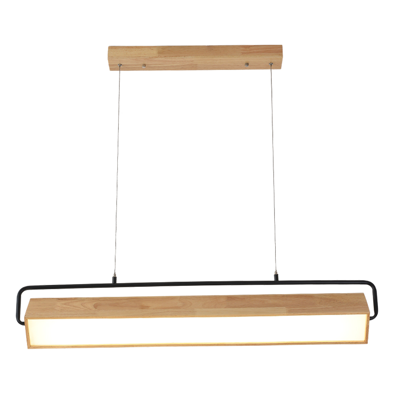 BOTIMI Modern Adjustable LED Pendant Lights With Wood Frame For Dining Room Wooden Rectangle Hanglamp Modern Suspension Light