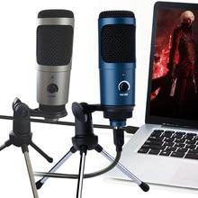 Para ps4 metal usb condensador gravação microfone jogos para computador portátil windows studio gravação vocais voz skype conversando podcast