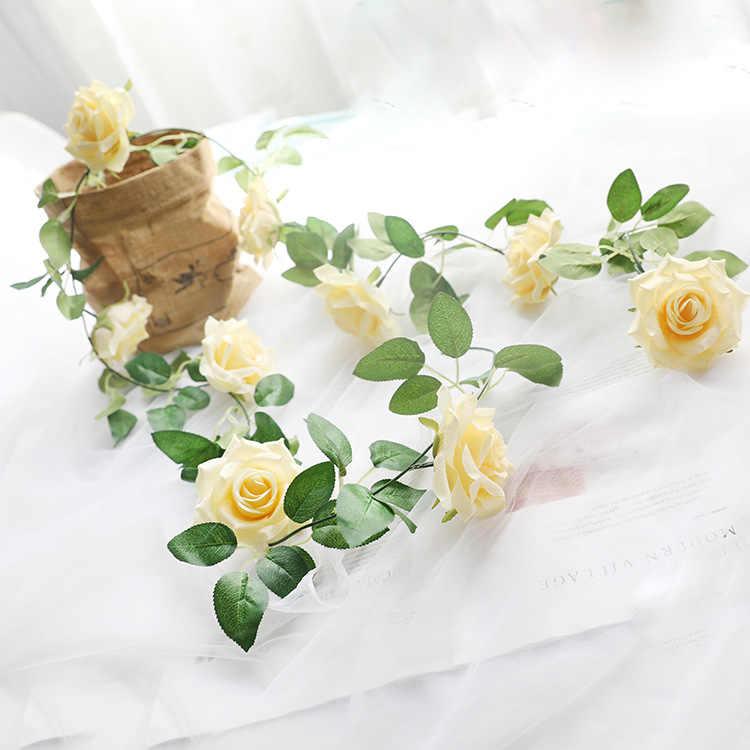 Kunstzijde Rose Wijnstokken Plastic Stengels Decoratieve Wedding Party Rose Bloemen, Kunstmatige Fake Rozen Bloemen Rotan Home Decor