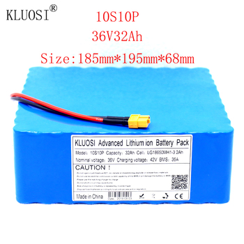 KLUOSI 36V 10S10P 32Ah 1200W High Power Capacity Li-ion Battery Pack for Electric Car Bicycle Motor Scooter 35A Balanced BMS