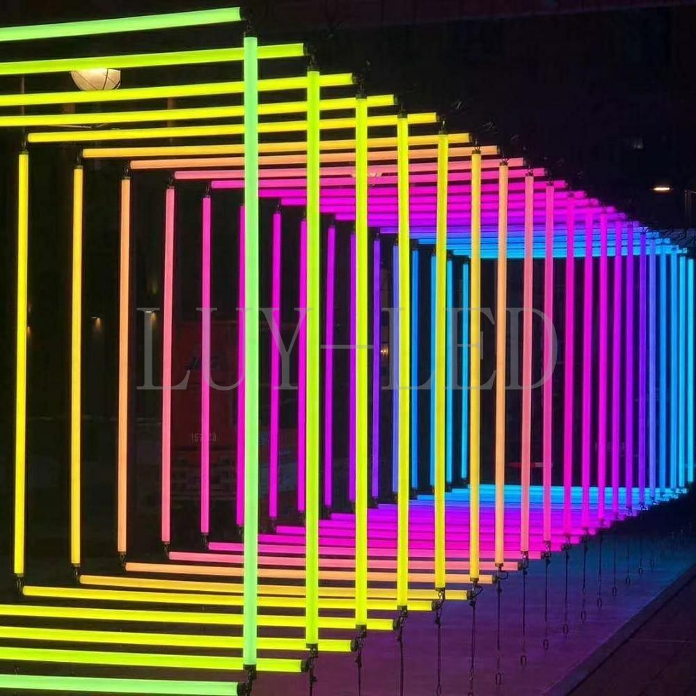 UCS2903/WS2811 RGB 360 degree colorful Tube; Artnet led pixel bar; DC24V D40mm 3D multiple shape led pixel tube for Club Stage