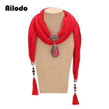 лучшая цена Ailodo Women Scarf Pendant Necklace Nature Resin Pendant Necklace Fringe Tassel Scarf Jewelry With beads Ethnic Jewelry