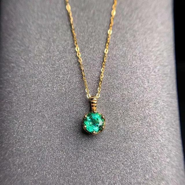 shilovem 18K yellow Gold real Natural emerald pendants fine Jewelry plant gift new plant none necklace 5*5mm  dz0505283ml 3