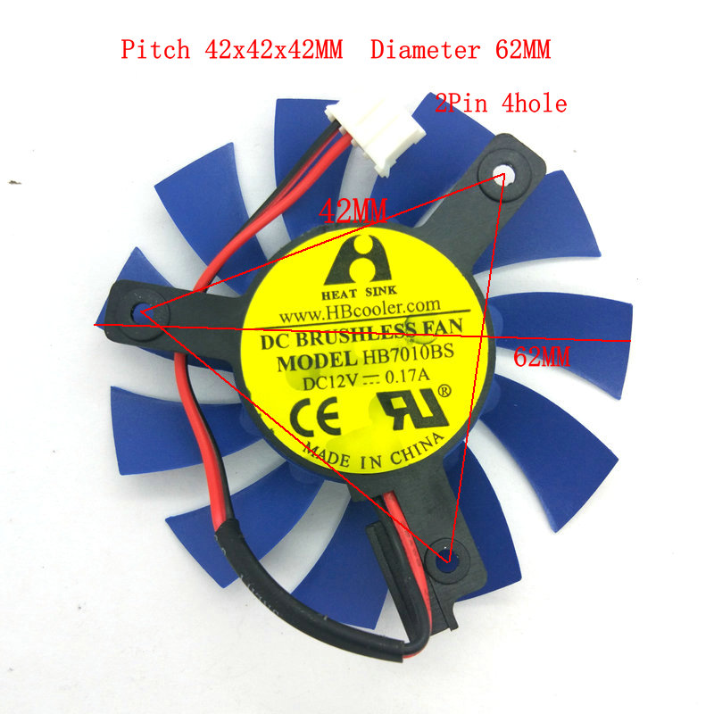 New Original for <font><b>GT630</b></font> Video Graphics card cooling <font><b>fan</b></font> HB7010BS DC12V 0.17A 2Lines 4Pin Diameter 62MM Pitch 42MM image