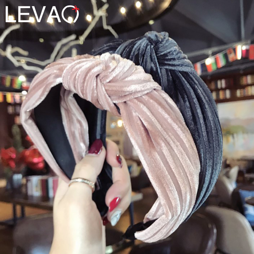Levao 2019 Women Hairbands Winter Velvet Headband Headwear Solid Color Stripe Knotted Hair Band Hoop For Girls Hair Accessories