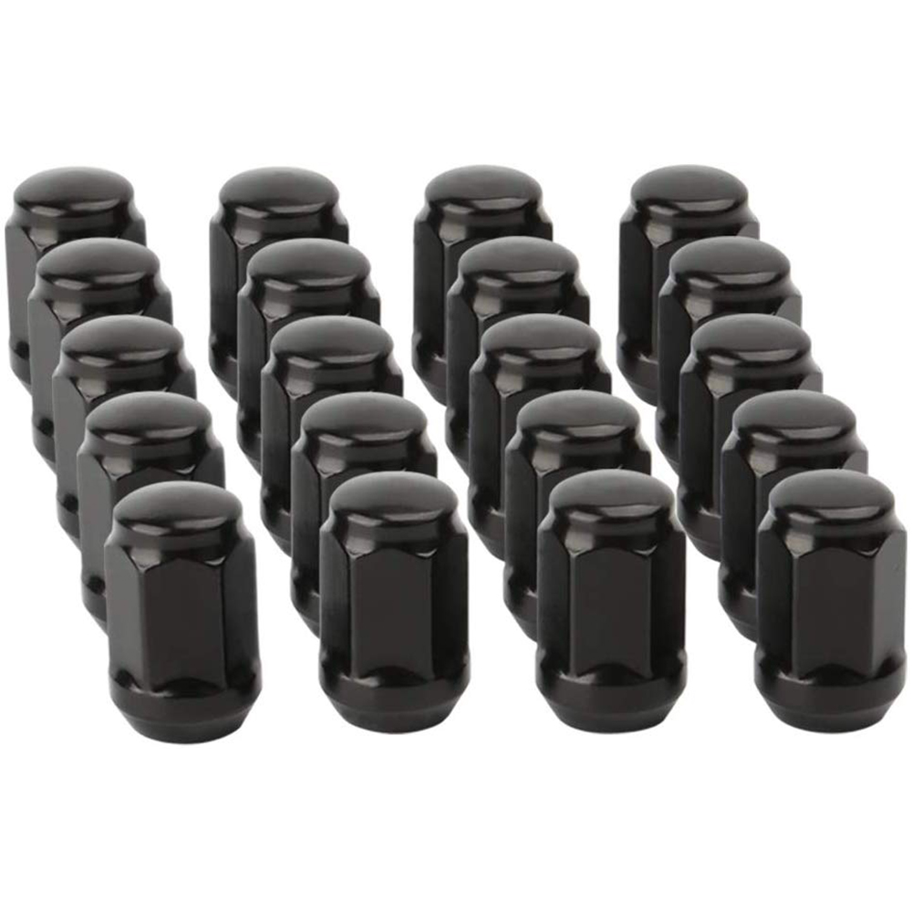 Conical//Cone Bulge Seat Closed End Locking Nuts Set of 20 Chrome 12mm x 1.5 Lug Nuts with Hex Socket Key Tool