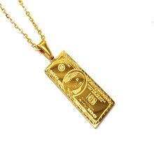 18k ouro amarelo dólar americano pingente encantos 100 dólar pingente de contas colar hip hop jóias de aço inoxidável