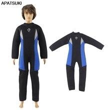 Black Blue Long Sleeve Swimwear for Ken Boy Doll Outfits One-piece Swimsuit Clothes for Barbie's Boyfriend Ken Male Dolls 1/6