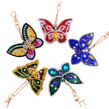 LLavero de diamante DIY con forma de mariposa diamantes llavero Cruz puntada bordado señora bolso llavero LD495