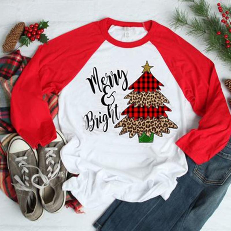 Women Christmas Raglan Sleeve T-Shirt Top Autumn Femme Christmas Tree Kawaii Tops Tee Vogue Long Sleeve Baseball  Aesthetic Tops